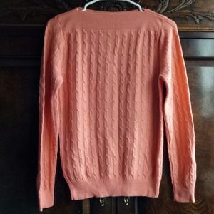DVG NWOT boat neck cable sweater peach M